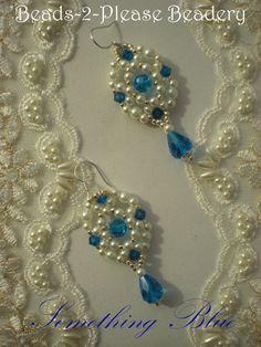 Something Blue Dangle Earrings (Regal Version) - Sterling Silver - Bridal, Bride, Quinceanera, Prom, Wedding, Formal