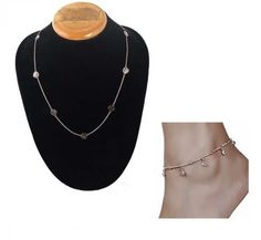 Aaishwarya Rosegold Floral Necklace & Crystal Anklet Combo (set of 2) #necklaceandanklet #fashionjewelry #floraljewelry
