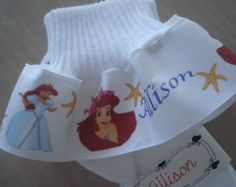 Mermaid  Princess MTM Little Mermaid Ariel Inspired Personalized Ruffle socks For Girls Tea Party Pageant