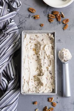"This ""butter"" pecan vegan ice cream is thick, creamy and decadently sweet yet made with no refined sugar or dairy. You won't believe you're not eating the real thing once you taste it!  Paleo, vegan, gluten free, dairy-free"