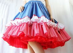 Vintage Circle Skirt / Rockabilly / Square Dance / Swing Dance / Gingham / Red White Blue / Fancy Fashions. $29.00, via Etsy.