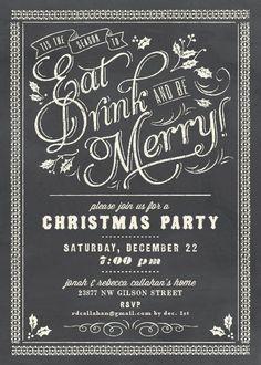 Christmas invitation...chalkboard art idea