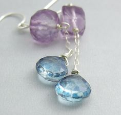 Earrings with Square Amethyst Beads Chain and Blue by jewelrybyroz, $24.00