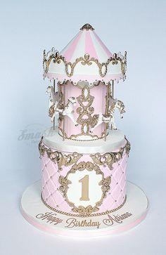 Carousel cakes are some of my very favorites. Elegant Birthday Cakes, Carousel Birthday Parties, Birthday Cake Girls, Fondant Cakes, Cupcake Cakes, Chanel Birthday Cake, Crazy Wedding Cakes, Circus Cakes, Carousel Cake