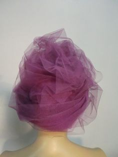 60s Tassell Lavender Tulle Beehive Hat w/ Optional Veil 5
