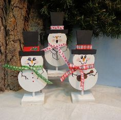 Snowmen, hand painted, dye cuts, holiday home decor, winter home decor, gift for exchange, snowman collectors, Christmas decor.    This trio