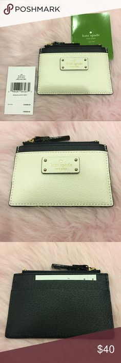 """NWT Kate Spade Credit Card/Coin Holder This NWT Kate Spade Adi Grove Street is a card/ coin holder in black and cream leather. There are 2 card slots on the back and one on the front for credit cards or ID. It featured a zip pocket on top; the interior has the Kate Spade New York lining. There is gold-toned hardware and the Kate Spade logo is embossed in gold on the front. It measures approximately 4.5""""L x 3""""W.  💜If you would like to make an offer, please use the """"OFFER"""" button. Save with…"""