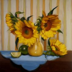 Leaf Points yellow sunflower daily painting, painting by artist Diane Hoeptner
