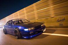 Black an dark blue Nissan Silvia s13. So sick