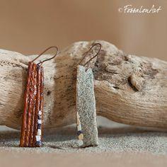 Earrings. Hemp twine, sand and seashells' chips. | Handamade by FossalonArt