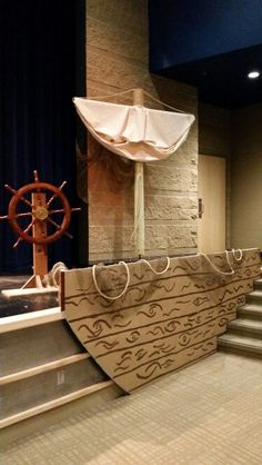 Maybe decorate the front lower part of the stage as the shipwreck? It would be at the kids eye level. Vbs Themes, Ocean Themes, Party Themes, Vbs Crafts, Diy And Crafts, Little Mermaid Play, Vacation Bible School, Pirate Theme, Treasure Island