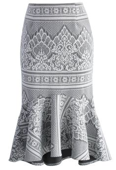Baroque Lace Grey Frill Hem Skirt - New Arrivals - Retro, Indie and Unique Fashion
