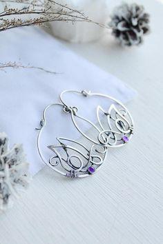 Amethyst silver earrings Hoop earrings February birthstone