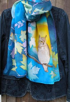 Hand Painted Silk Scarf  Owl with Full Moon