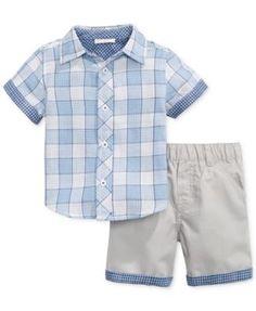 First Impressions Baby Boys' Shirt & Shorts Set Boys Shirt And Pant, Baby Boy Shirts, Boys Shirts, Little Boy Fashion, Baby Boy Fashion, Toddler Fashion, Kids Fashion, Baby Boy Dress, Baby Boy Swag