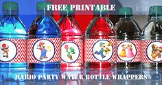 free mario water bottle wrapper printable for mario party