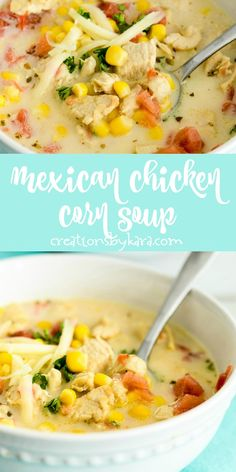 This Mexican Chicken Corn Soup is a new family favorite. It is so easy to make, and tastes fabulous! A perfect soup recipe that will warm you right up. #mexicanchickencornsoup #cornsoup #mexicansoup #mexicanchickensoup #creationsbykara #souprecipe Chicken Corn Soup, Chicken Soup Recipes, Healthy Soup Recipes, Chili Recipes, Mexican Food Recipes, Pepper Chicken, Garlic Chicken, Keto Recipes, Mexican Chicken