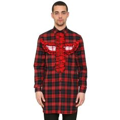 Givenchy Men Ruffled Totem Cotton Plaid Maxi Shirt (13.593.910 IDR) ❤ liked on Polyvore featuring men's fashion, men's clothing, men's shirts, men's casual shirts, red, mens long sleeve plaid shirts, mens collared shirt, mens cotton shirts, mens long sleeve collared shirts and mens red shirt