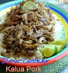 Slow Cooker Kalua Pork with Chive Lime Rice from NoblePig.com. The whole family will love the flavors in this dish.
