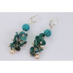 Green Blue Natural Turquoise and AAA light pink (off white) freshwater... (37 AUD) ❤ liked on Polyvore featuring jewelry, earrings, turquoise jewelry, sterling silver disc earrings, wire wrapped earrings, green turquoise earrings and sterling silver turquoise earrings
