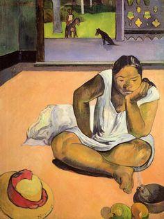 Paul Gauguin ~ Te vahine fa'atüruma (Peinzende vrouw) ~ 1891 ~ Olieverf op doek ~ 68,7 x 91,2 cm. ~ Worcester Art Museum, Worcester