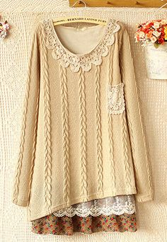 Lace Chiffon Spliced Knit Dress