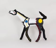 Mixed Media Sculpture -  Graphic Horse Totem - Equine Art - White, Black, Blue, Yellow, and Red