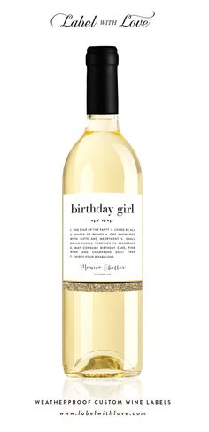 Happy Birthday Wine Labels or Champagne Labels by LabelWithLove