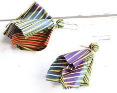 Ankara Earrings Large Earrings - African Print Fabric Earrings - Tribal Earrings - Light Earrings - Ethnic Earrings - Rainbow Earrings thecoastaldesert The Coastal Desert African Jewelry African Jewllery Ankara Jewelry Ankara Jewellery