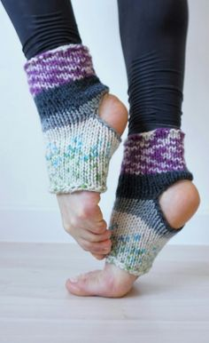 Boho style colorful hand knit dance socks.  They are also great for yoga, Pilates, exercising and any other barefoot activity. The socks have an open heel and toe so they will provide an extra grip during yoga postures, dance moves, etc. The design is unique for each sock due to the yarn dye. Great gift for yoga lovers and dancers. Hand knitted with love and attention to details!