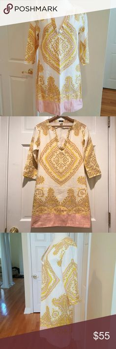J. Crew Boho Bazaar Tunic Dress J. Crew Boho Bazzar Tunic Dress, easy casual Tunic shape, fully lined, 3/4 length sleeves with slit at elbows, V neck, Tunic shift shape. Gorgeous pattern in pink, yellow and taupe! EUC. J. Crew Dresses
