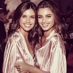 The new BFFs with wings: Sara Sampaio and Taylor Hill honestly they look like Barbies backstage at VS Fashion Show.