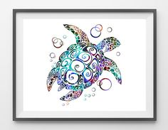 Turtle Giclee Print BlueTurtle watercolor print by MimiPrints