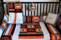 5 piece SF Giants crib bedding  free personalized pillow