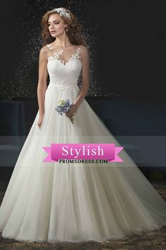 2017 A Line Scoop Wedding Dresses Tulle With Applique And Jacket Court Train