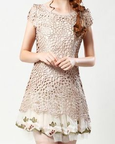 Apricot Floral Crochet Embroidered Silk Cap Sleeve Dress :)