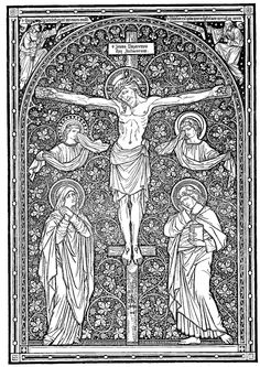 Catholic line art - the floral treatment of the background attract me. See the saints next to Jesus who sink into the flowers. Catholic Crafts, Catholic Art, Catholic Saints, Christian Images, Christian Art, Religious Images, Religious Art, Catholic Missal, Christ The King