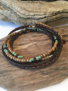 Leer Wrap Armband leder/beaded Jewelry door BohoBlissCreations