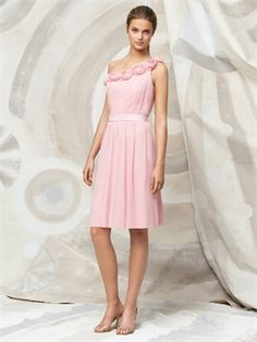 Cocktail length one shoulder crinkle chiffon with hand worked rosettes at neckline bridesmaid dress BD0069