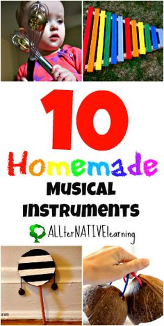 10 Homemade Musical Instrument Ideas that you can make for your little one. Or if you have preschool or kindergarten aged children it would make a great craft idea! Preschool Music, Music Activities, Teaching Music, Toddler Activities, Movement Activities, Toddler Crafts, Music For Toddlers, Toddler Music, Kids Music