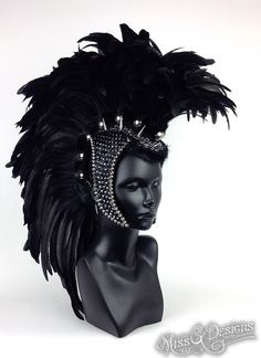 MADE TO ORDER Large Black Feather Mohawk with by MissGDesignsShop, $550.00