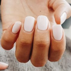 """If you're unfamiliar with nail trends and you hear the words """"coffin nails,"""" what comes to mind? It's not nails with coffins drawn on them. Although, that would be a cute look for Halloween. It's long nails with a square tip, and the look has. White Manicure, Gel Manicure, White Nails, Manicure Ideas, White Summer Nails, Pink Nail, Best White Nail Polish, Ombre Nail, White Short Nails"""