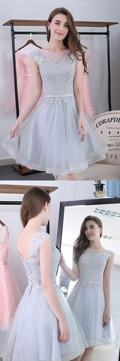 Elegant Light Gray Sleeveless Homecoming Dresses,Appliques Lace Short Prom Dress HCD103   Short Prom Dresses, Homecoming Dresses, Prom Gowns, Party Dresses, Graduation Dresses, Short Prom Dresses, Gowns Prom, Cheap Prom Gowns on Line