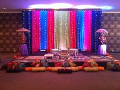 santak, garba, gheet night stage, decor, wedding, indian wedding, colorful stage, beautiful!