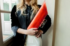 Oversized red metallic leather clutch Large red by vquadroitaly