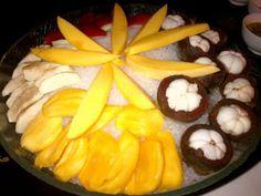 Cut fruits on display