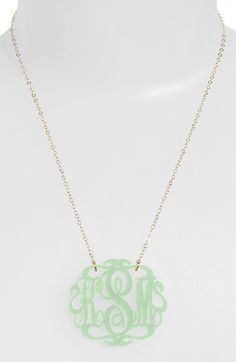 Beautiful monogram necklace in #mint http://rstyle.me/n/j8vcznyg6