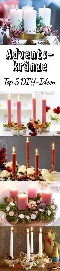 Erst eins, dann zwei, dann drei, dann vier ... die schönsten DIY-Ideen zum Adventskranz basteln.