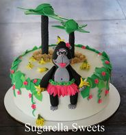 Fondant Gorilla kids cake with palm trees and bananas.