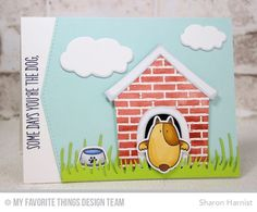 Dog House Die-namics, Cloud Trio Die-namics, Grassy Edges Die-namics, Small Brick Background, You Make My Tail Wag Stamp Set, You Make My Tail Wag Die-namics - Sharon Harnist #mftstamps